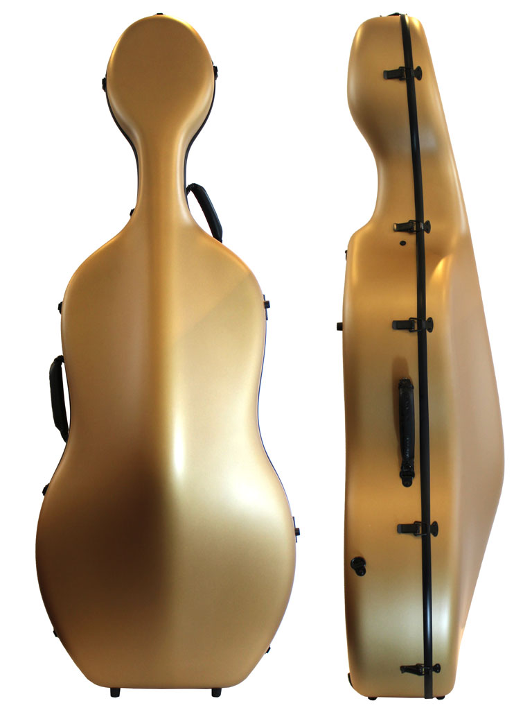 Orchestra Gold Cello Case Front/Side