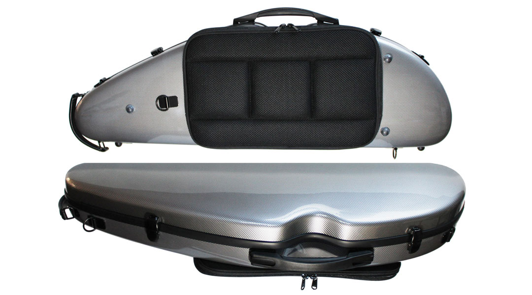 VC162 Rocket Shaped Silver Weave Violin Case