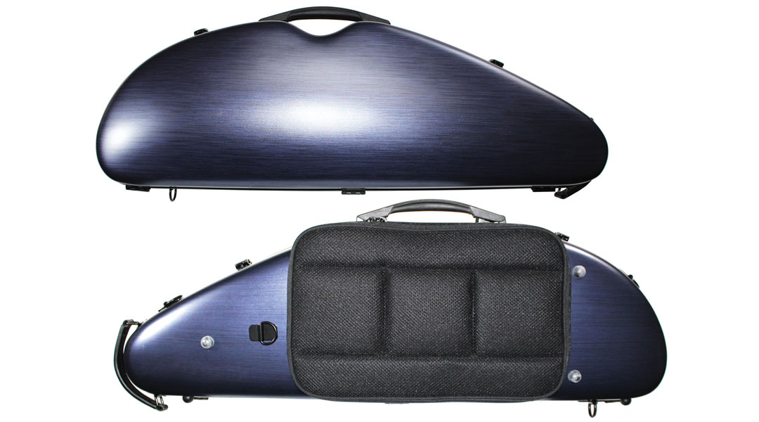 VC163 Rocket Shaped Brushed Blue Violin Case