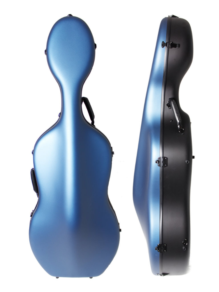Orchestra Blue/Black Cello Case Front/Side
